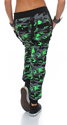 damen boyfriends camouflage print jogginghose mit hosentr ger stretchhose jogger xxl gr n. Black Bedroom Furniture Sets. Home Design Ideas