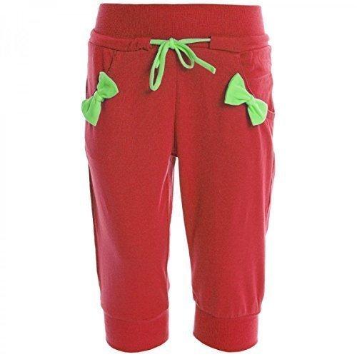 Kinder Mädchen Kurze Hose Bermuda Shorts Sommer Capri Pump Pants Jeans 20383, Farbe:Rot;Größe:146